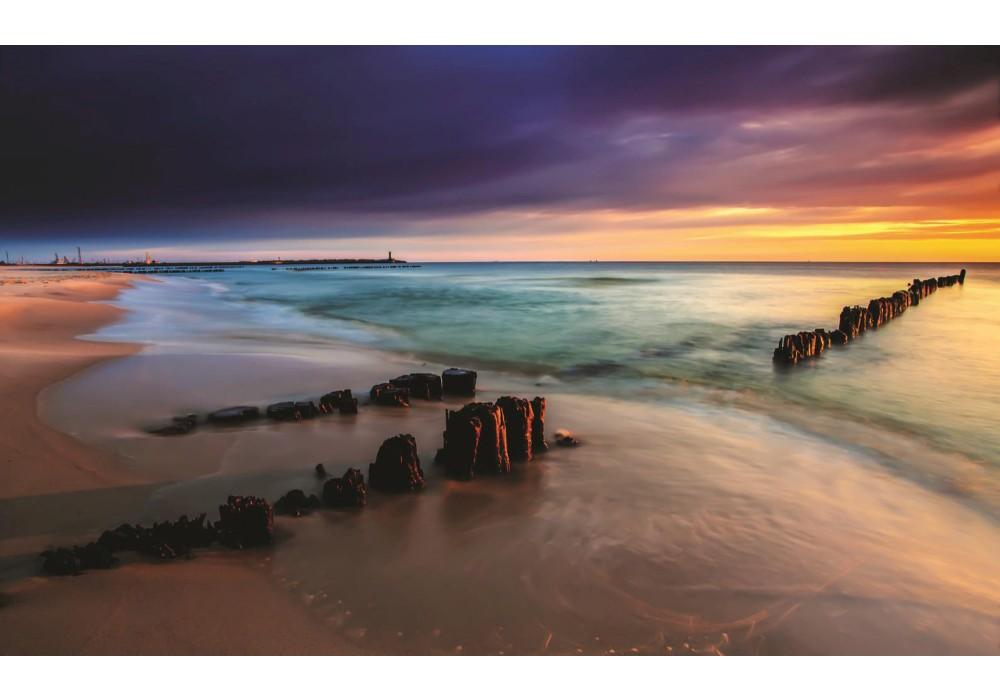 Fotobehang Strand Zee.Fotobehang Papier Strand Zee Grijs 368x254cm Fotobehangart Nl