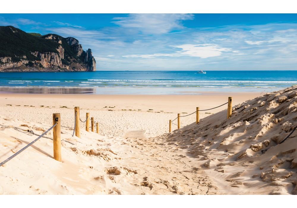 fotobehang strand, zee | blauw | 208x146cm