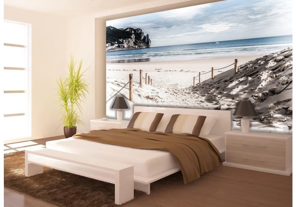 Fotobehang Strand Zee.Fotobehang Strand Zee Blauw 416x254 Fotobehangart Nl