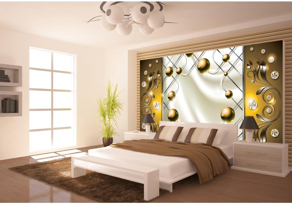 fotobehang modern, slaapkamer | zilver, goud | 416x254