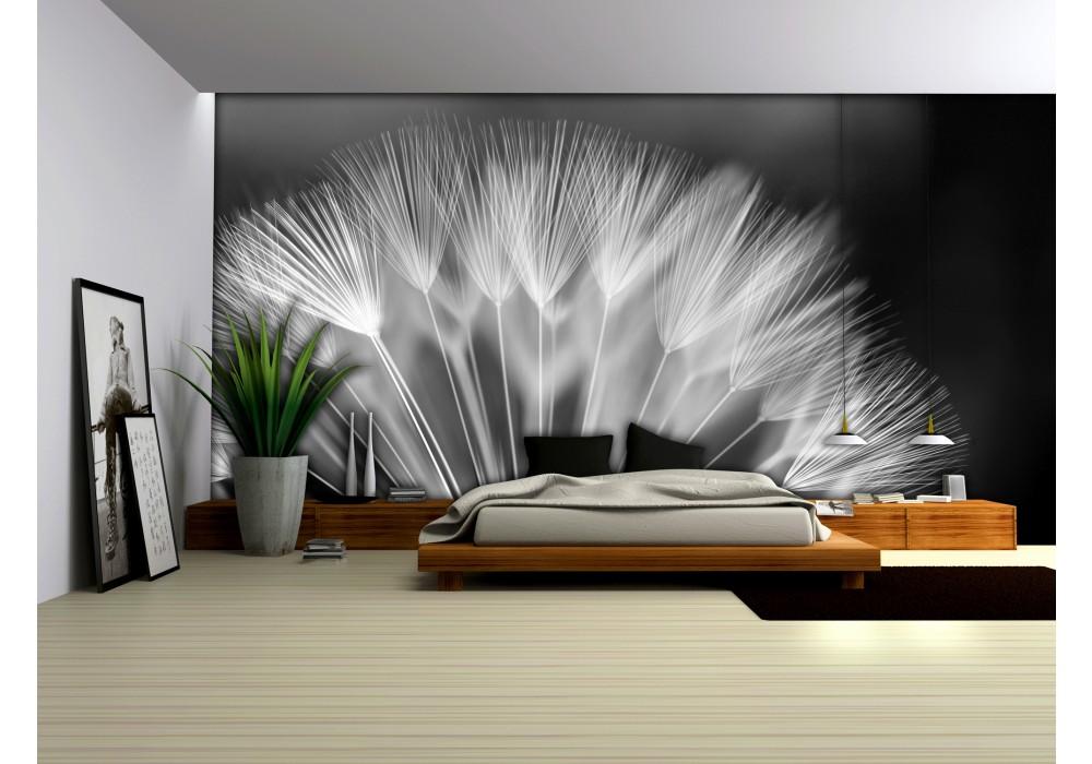 Fotobehang Zwart Wit.Fotobehang Bloemen Zwart Wit 152 5x104cm