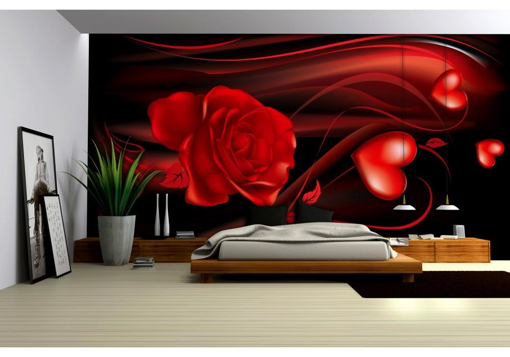 Slaapkamer Rood Zwart.Fotobehang Roos Slaapkamer Zwart Rood 152 5x104cm