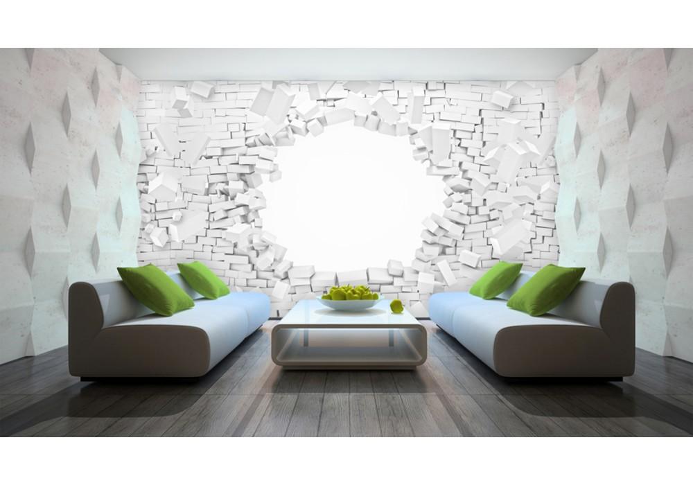 Verbazingwekkend Fotobehang Muur, 3D | Wit | 312x219cm | Fotobehangart.nl SY-72