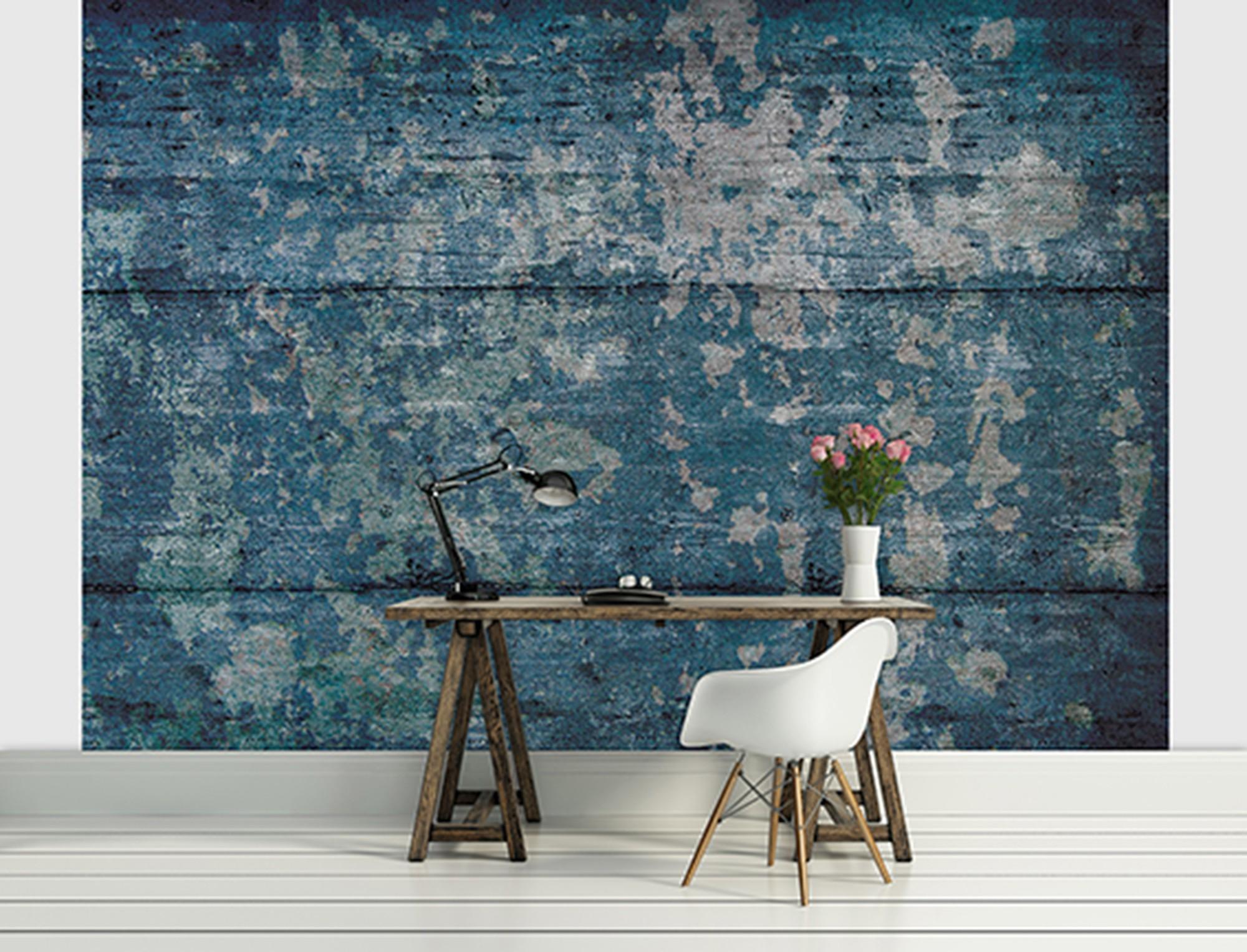 Fotobehang industrieel blauw 416x254 for Industrieel behang
