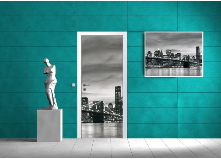 Deursticker Muursticker New York | Zwart | 91x211cm