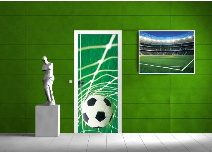 Deursticker Muursticker Voetbal | Groen, Wit | 91x211cm