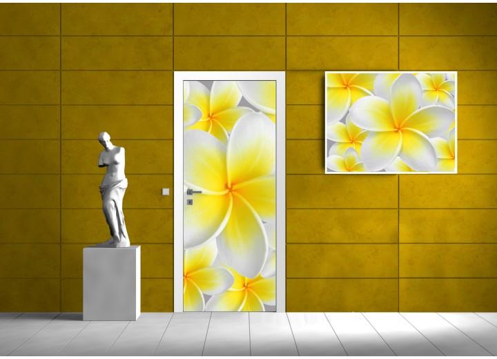 Fotobehang Bloemen | Geel | 91x211cm