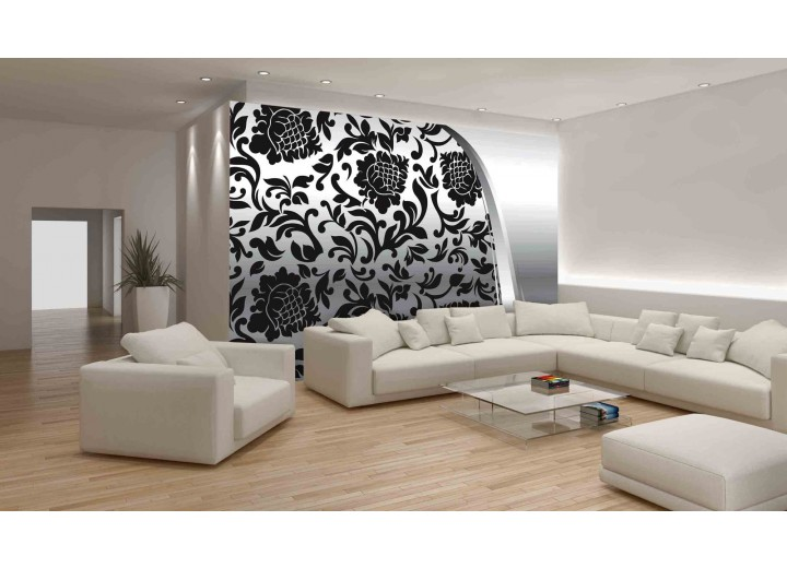 Fotobehang Vlies | Bloemen | Zwart, Zilver | 368x254cm (bxh)