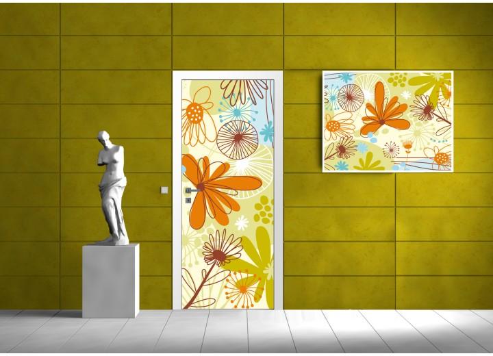 Deursticker Muursticker Bloemen | Oranje, Groen | 91x211cm