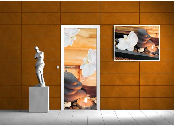 Deursticker Muursticker Stenen, Zen | Bruin | 91x211cm