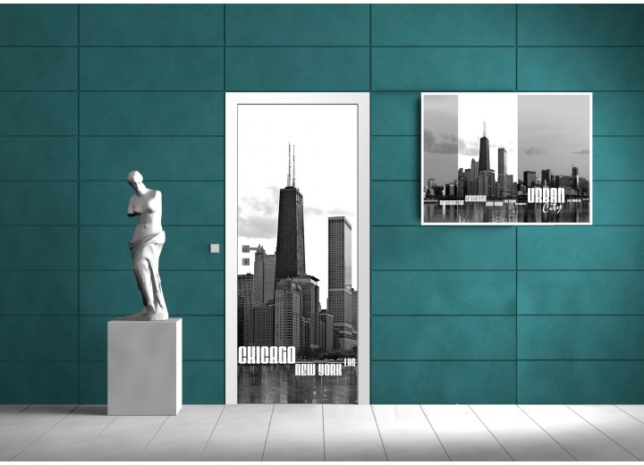 Fotobehang Chicago | Zwart, Wit | 91x211cm