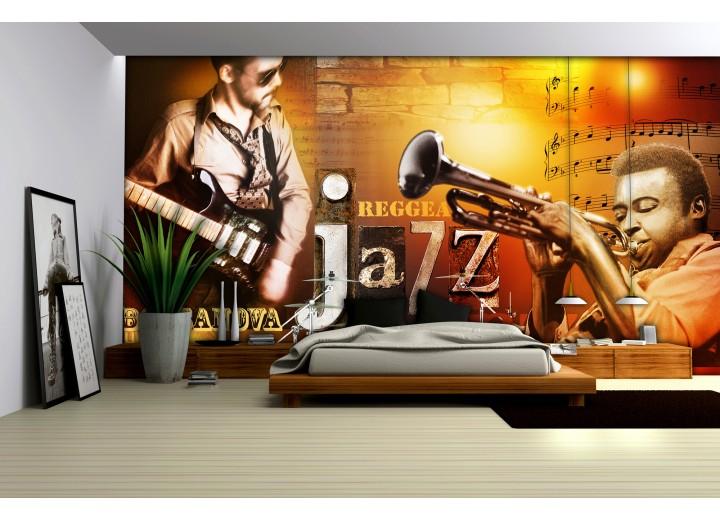 Fotobehang Vlies | Muziek | Bruin, Oranje | 368x254cm (bxh)