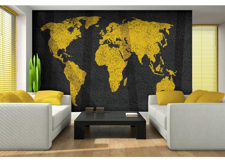 Fotobehang Vlies | Wereldkaart | Geel, Zwart | 368x254cm (bxh)