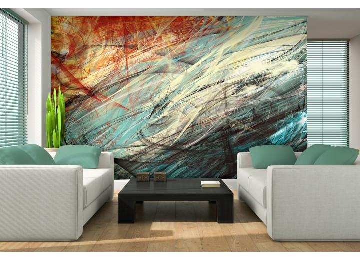 Fotobehang Vlies | Abstract | Oranje, Blauw | 368x254cm (bxh)