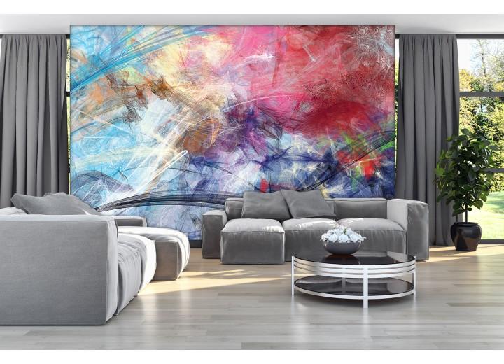 Fotobehang Vlies   Abstract   Blauw, Geel   368x254cm (bxh)
