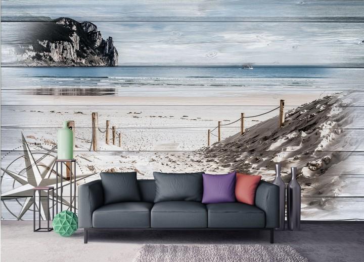 Fotobehang Vlies   Strand   Grijs, Blauw   368x254cm (bxh)