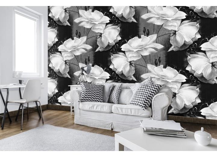 Fotobehang Vlies | Bloemen | Grijs, Zwart | 368x254cm (bxh)