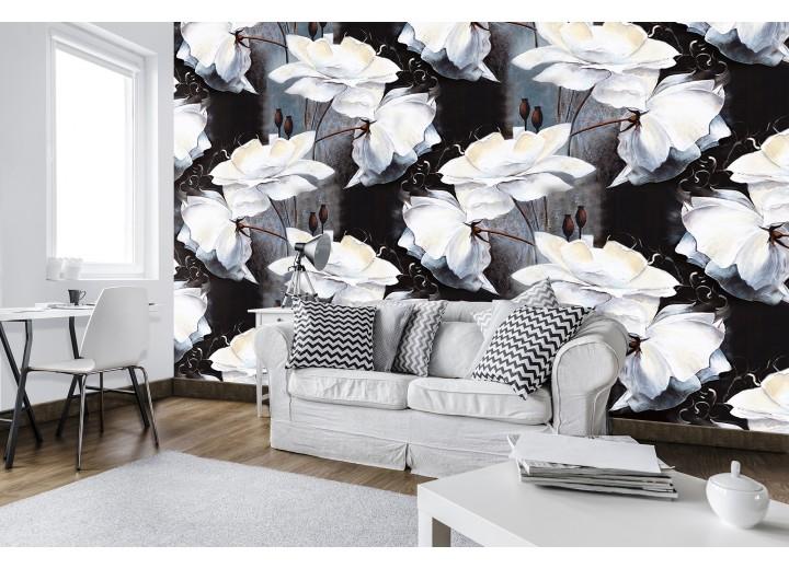 Fotobehang Vlies   Bloemen   Wit, Zwart   368x254cm (bxh)