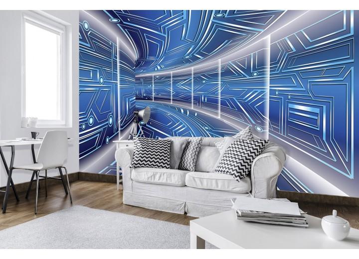 Fotobehang Vlies   Abstract   Blauw, Grijs   368x254cm (bxh)