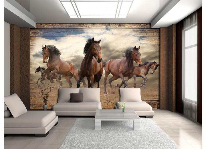 Fotobehang Vlies | Paarden | Grijs, Bruin | 368x254cm (bxh)