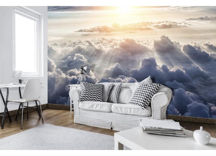 Fotobehang Vlies | Wolken | Grijs, Geel | 368x254cm (bxh)