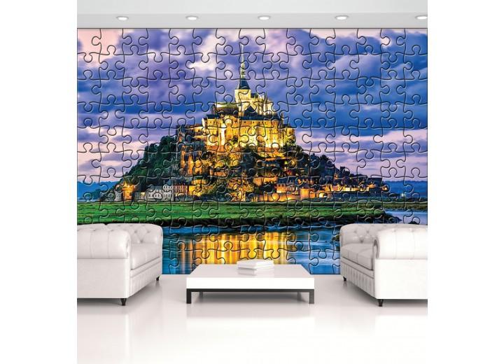 Fotobehang Vlies | Mont Saint Michel | Blauw | 368x254cm (bxh)
