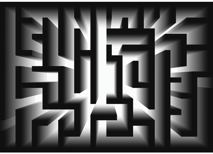 Fotobehang Vlies | Design | Zwart, Grijs | 368x254cm (bxh)