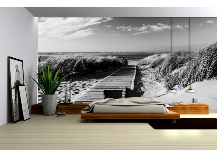 Fotobehang Vlies   Strand   Grijs, Zwart   368x254cm (bxh)