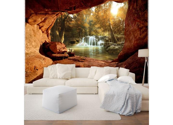 Fotobehang Vlies   Waterval, Natuur   Bruin   368x254cm (bxh)