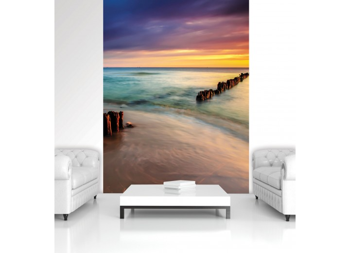 Fotobehang Papier Zee | Paars | 184x254cm