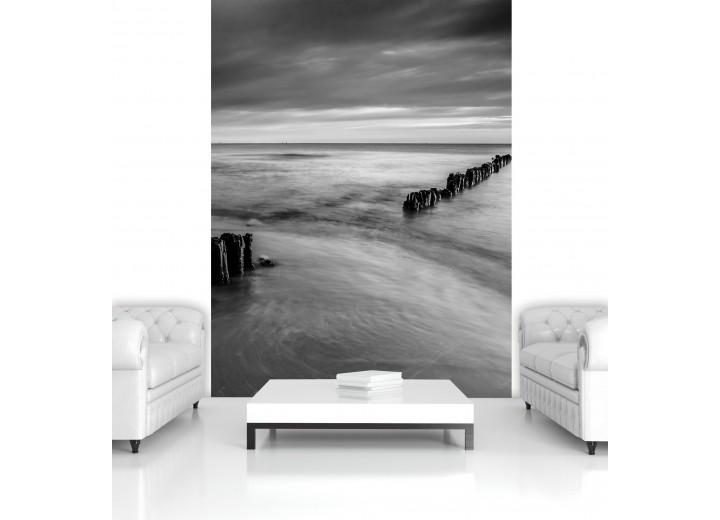 Fotobehang Papier Zee | Zwart, Grijs | 184x254cm