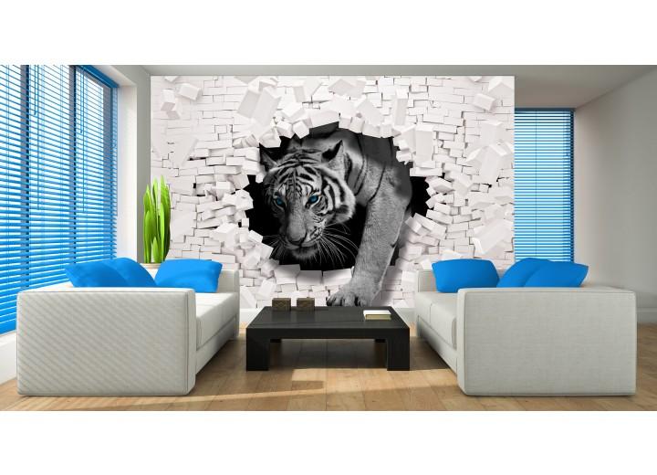 Fotobehang Vlies | 3D, Tijger | Grijs | 368x254cm (bxh)
