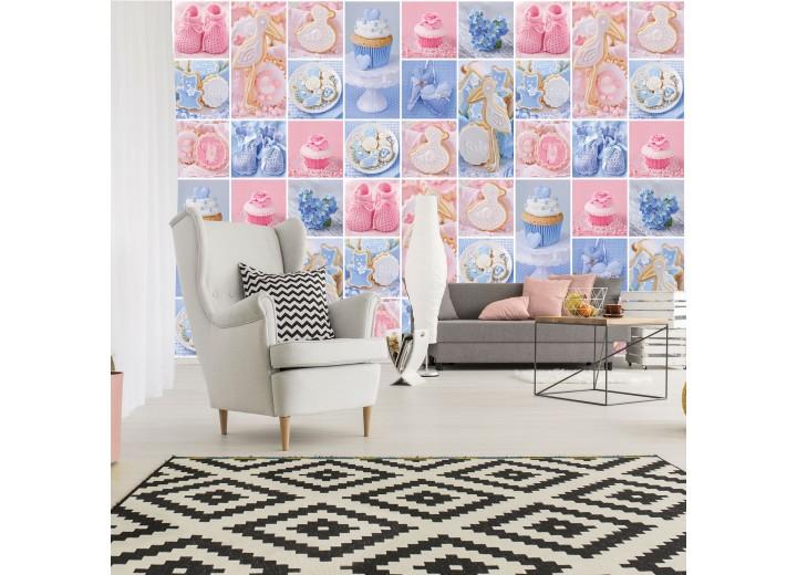 Fotobehang Vlies | Babykamer | Blauw, Roze | 368x254cm (bxh)