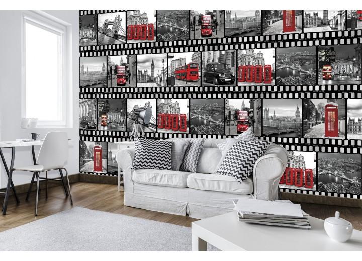 Fotobehang Vlies | London, Modern | Zwart, Rood | 368x254cm (bxh)