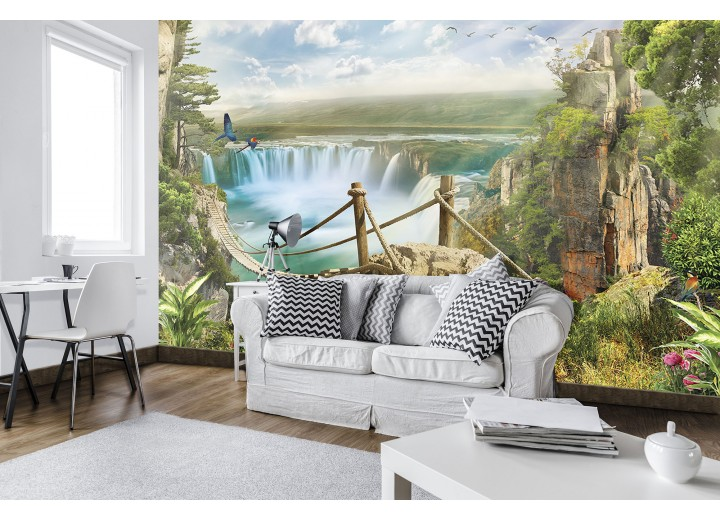 Fotobehang Vlies | Waterval, Natuur | Groen | 368x254cm (bxh)