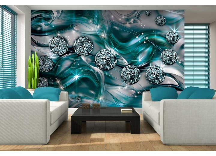 Fotobehang Vlies | Design | Zilver, Turquoise | 368x254cm (bxh)