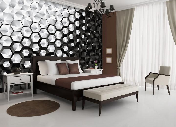Fotobehang Vlies | 3D, Modern | Zwart, Grijs | 368x254cm (bxh)