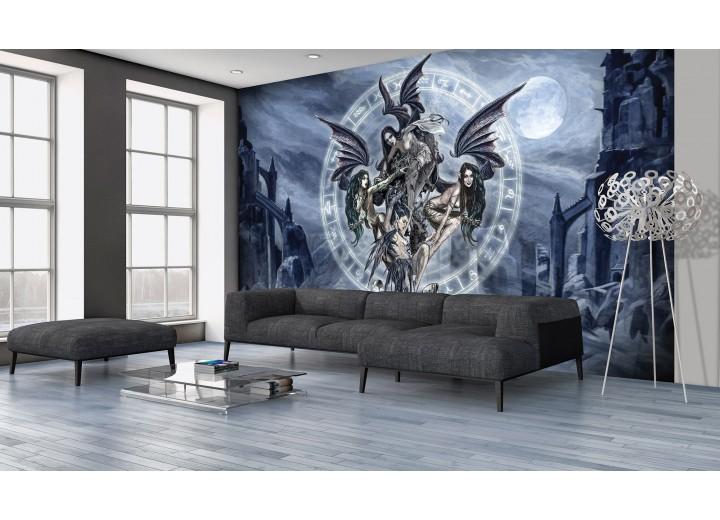 Fotobehang Vlies   Gothic   Grijs, Blauw   368x254cm (bxh)