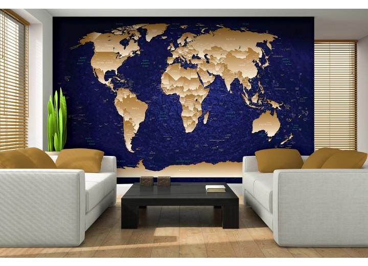 Fotobehang Vlies | Wereldkaart | Blauw, Geel | 368x254cm (bxh)