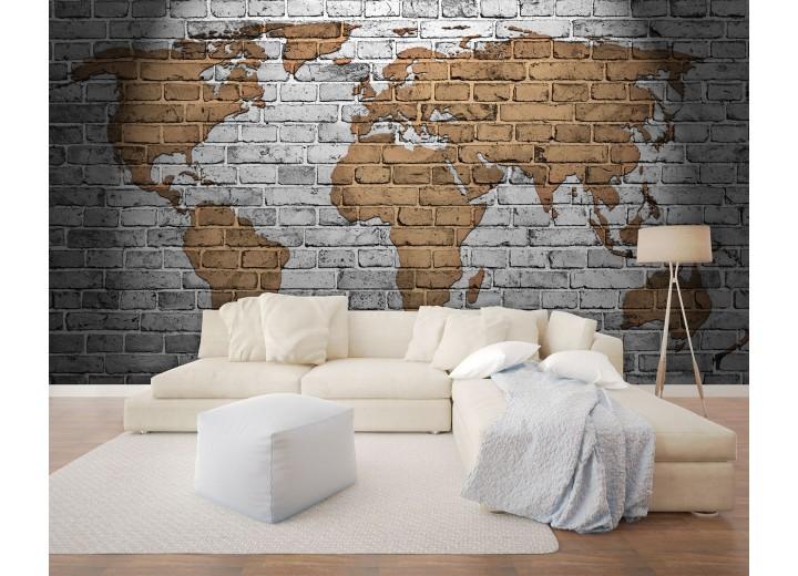 Fotobehang Vlies | Wereldkaart | Grijs, Bruin | 368x254cm (bxh)