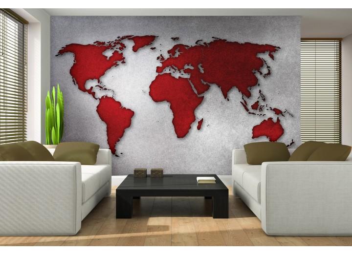 Fotobehang Vlies | Wereldkaart | Rood, Grijs | 368x254cm (bxh)