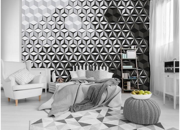 Fotobehang Vlies | 3D, Design | Zwart, Wit | 368x254cm (bxh)