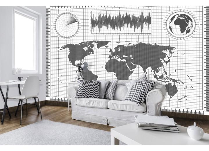Fotobehang Vlies | Wereldkaart | Grijs, Wit | 368x254cm (bxh)