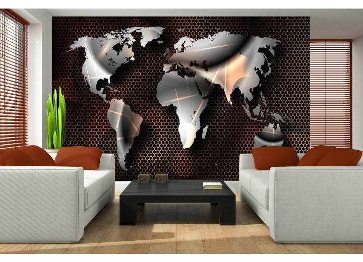 Fotobehang Vlies | Wereldkaart, Modern | Grijs | 368x254cm (bxh)