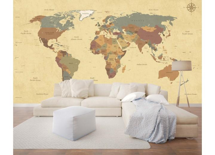 Fotobehang Vlies | Wereldkaart | Bruin | 368x254cm (bxh)