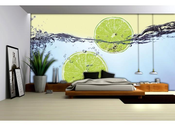 Fotobehang Vlies | Keuken | Groen, Blauw | 368x254cm (bxh)