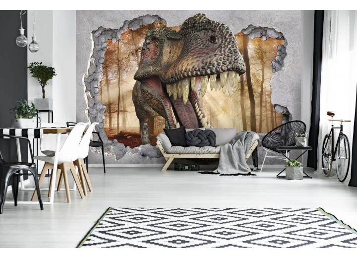Fotobehang Vlies | Dinosaurus, 3D | Grijs | 368x254cm (bxh)
