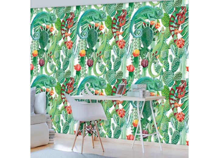 Fotobehang Vlies | Kameleon | Groen | 368x254cm (bxh)