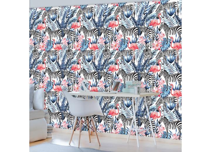 Fotobehang Vlies   Zebra   Blauw, Zwart   368x254cm (bxh)