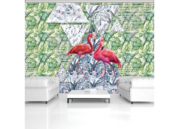 Fotobehang Vlies | Flamingo, Kleurrijk | Groen | 368x254cm (bxh)
